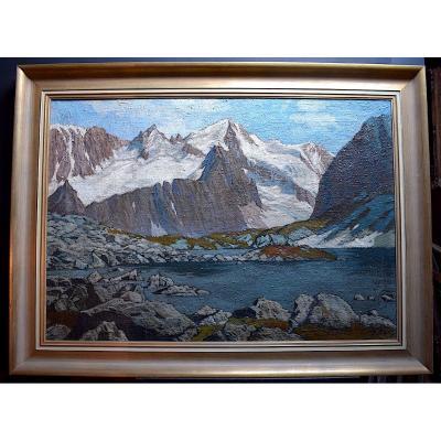 Léopold Scheiring Paysage de Neige Montagne Alpes Autriche Allemagne XX RT300