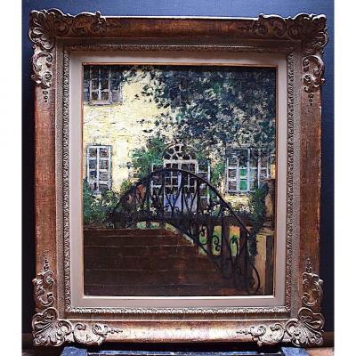 Maurice De Meyer Belge Postimpressionniste Jardin Paysage XX RT301
