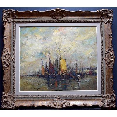 Maurice de Meyer Belge Postimpressionniste Marine Bateaux  XX RT302