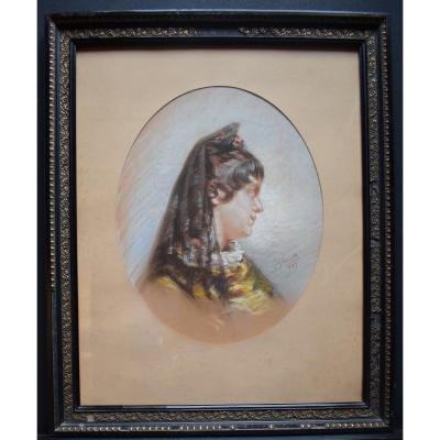 J Glenat Signé Pastel Portrait Arlesienne Espagne  Arles  1887 XIX RT307