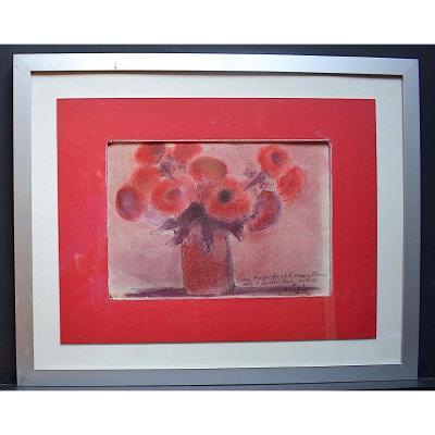 Jacques Daufin signé Pastel Nature Morte Vase de Fleurs Postimpressionniste XX RT308