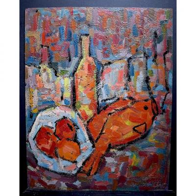 Pieter T. Hart Still Life With Fishes Fruit Abstract Cubist Netherlands 1960s 70s Rt317