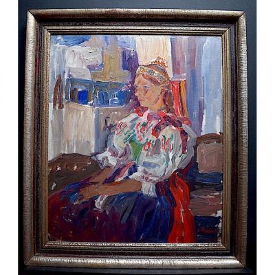 Vladimir Stepanek Tchèque  Style Fauve Signé Femme Assise XX RT318