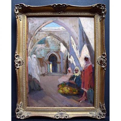 Gaston Parison Orientaliste Scène de genre Marché Mosquée XX RT335