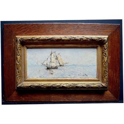 Giovanni Castagneto Marine Bateau Impressionniste XIX   ITALIE BRESIL RT336