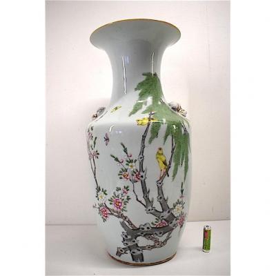 Vase Porcelaine de Chine Céladon Décor Oiseaux Insectes Arbre Fleuri Asie Chinois 1900