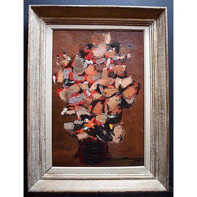 Signé Roque ou Rogue Bouquet de Fleurs Moderniste Abstrait Style Nicolas de Staël XX RT348