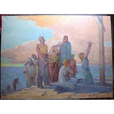Signé Bretaudeau  Grande peinture Symboliste Scène Religieuse postimpressionniste XX RT350