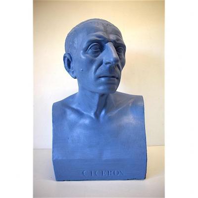 Buste de Ciceron Plâtre du Louve Peint XX  Style Époque Romaine