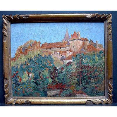 Lebacq Georges Signé Carennac Dordogne Lot Paysage Postimpressionniste XX RT355