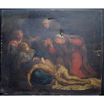 Religieux Descente de Croix Déploration Jésus Christ Piéta XVIII  à Restaurer RT357