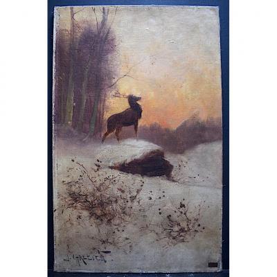 J. Chretien Signé Cerf  Peinture Animalière Paysage De Neige Impressionniste XX Rt358