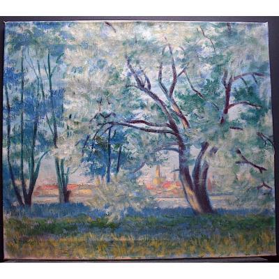 L Brandt Signé Paysage Impressionniste école Française XIX XX RT359