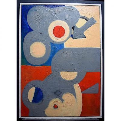 Abstrait Composition Géométrique Années 1970 signé au dos ? XX RT360