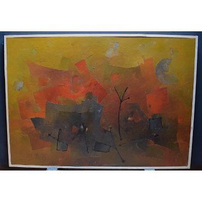 1962 Abstrait Composition Cubiste Symboliste Signé  à Identifier XX RT365