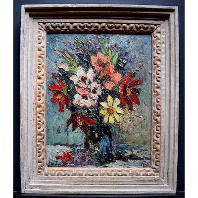 Jac Laubé Nature Morte Bouquet de Fleurs Signé 1945 XX RT366