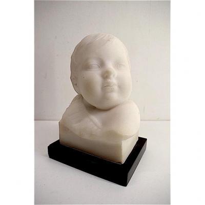 Pierre De Leonard  Buste Enfant Marbre De Carrare Signé  XIX XX Sculpture REF180