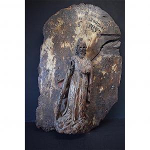 Personnage en Bois Sculpté XVII ème Porte de Tabernacle Art Populaire Religieux