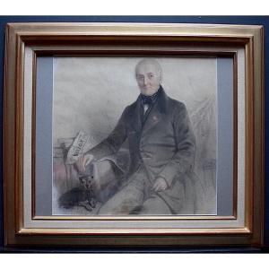 Athalante Legrand  Drawing Portrait Man Dog XIX Rt377