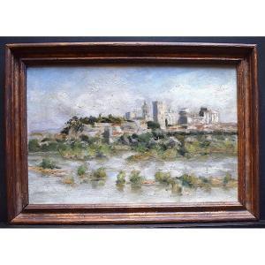 Villeneuve-lès-Avignon Paysage provençal Provence Impressionniste Vue d'Avignon  XX RT385