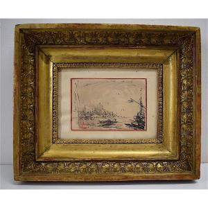 Felix Ziem 2 Vues Recto Verso De Venise Marine Encre Lavis   Cachet Atelier XIX Rt392
