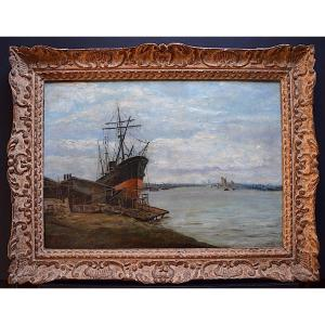 Signé Lefebvre Marine Bateau Impressionniste XIX XX RT393
