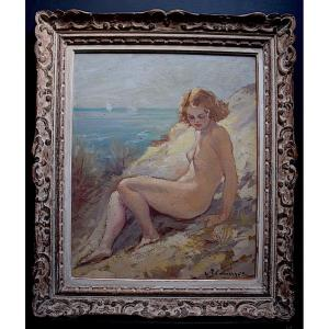 Femme Nue sur La plage Années 1940 1950 Signé à Identifier XX RT395
