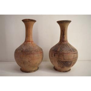 Paire de Vases Berbère en Terre Cuite Peinte époque vers 1900 Orientaliste   REF218
