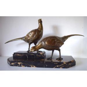 Ignacio GALLO Art Déco Couple de Faisans en Bronze vers 1925 1940  Animalier XX ème   REF220