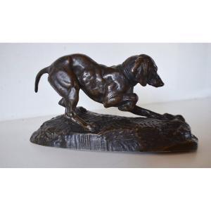 Antoine Louis Barye Bronze Animal Dog Stopping Signed XIXth Hunting Ref224