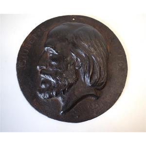 Médaillon Ancien XIX Portrait de Guiseppe Garibaldi Fonte de Fer Histoire Italie REF231