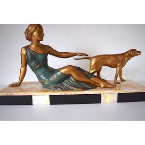 Ugo Cipriani  Femme au Chien Art Déco vers 1925 Signée Uriano XX REF235
