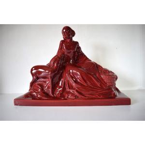 Sculpture Céramique Art Déco Femme et l'Antilope vers 1925 1930 XX REF236