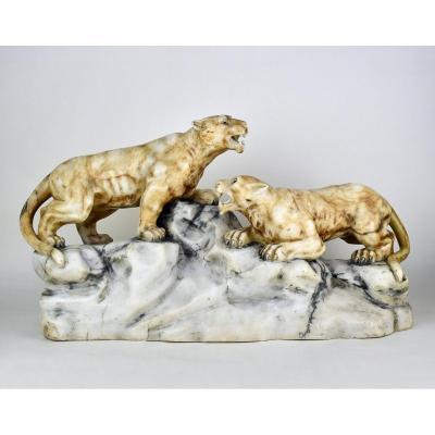 Deux Lionnes  Par  Alberto  SACCARDI  (1883-1956)