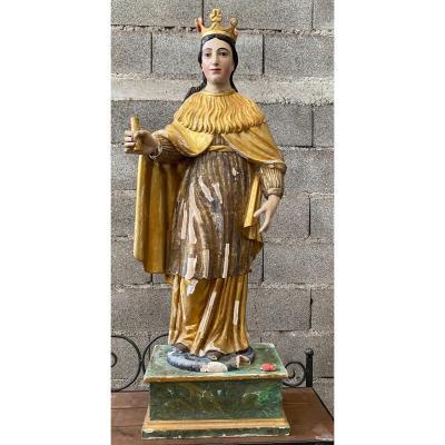 Virgin In Carved Wood