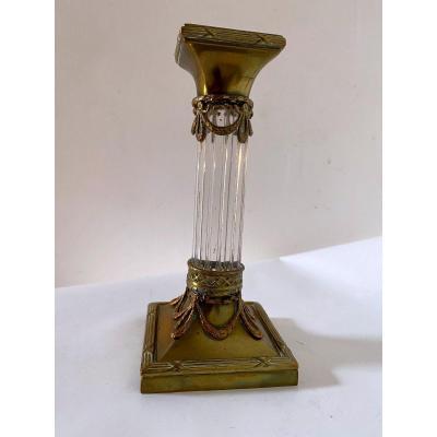 Bougeoir Napoléon III Cristal Et Bronze