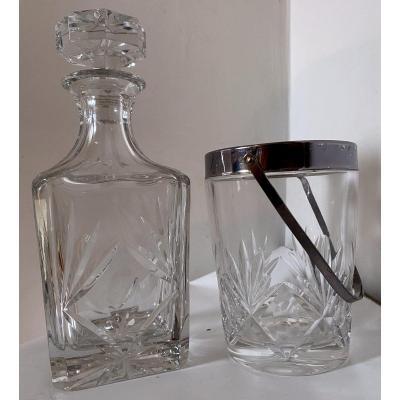 Carafe Whisky Et Seau à Glaçons Cristal Taillé Lemberg Lorraine