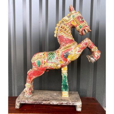 Cheval En Bois Sculpté Polychrome - Inde 19 Ième