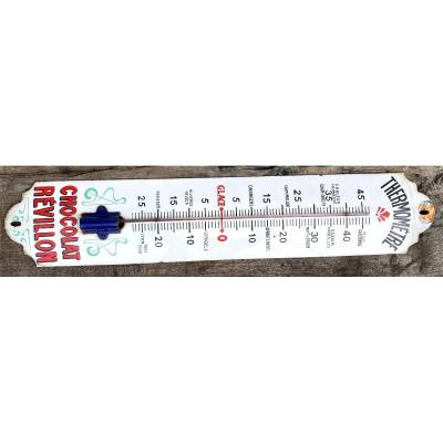 New Year's Eve Chocolate Enamel Plate Thermometer - Advertising