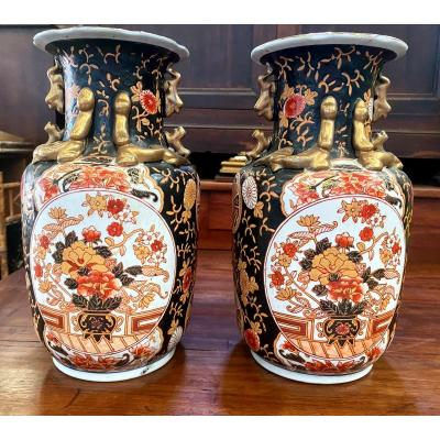 Japan- Pair Of 19th Century Ceramic Vases