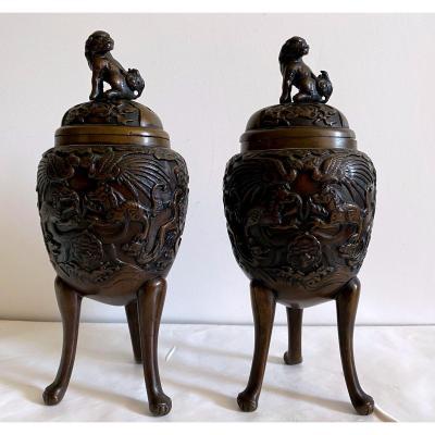 Japan - Pair Of Bronze Perfume Burner 19th