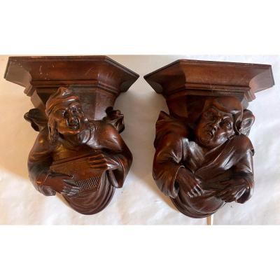 Pair Of Carved Wooden Console Tables In Gothic Style - 1900