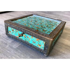Charming Napoleon III Bronze Box Decorated With Butterflies, Birds 19th