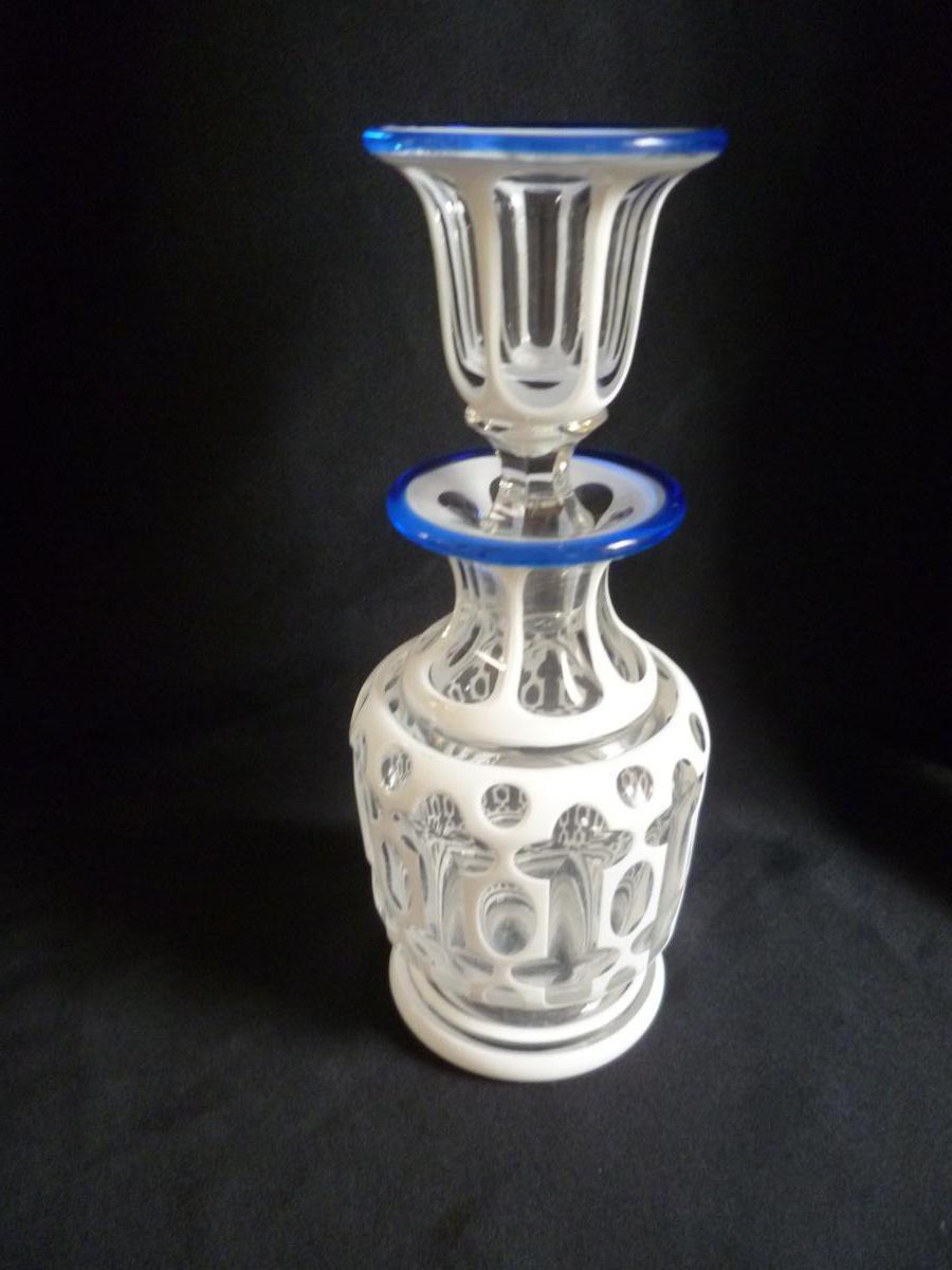 Carafe En Overlay d'Opaline Sur Cristal