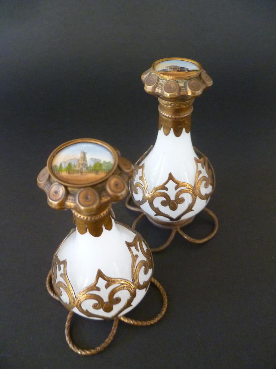 Pair Of Perfume Bottles In Opaline And Brass Dore