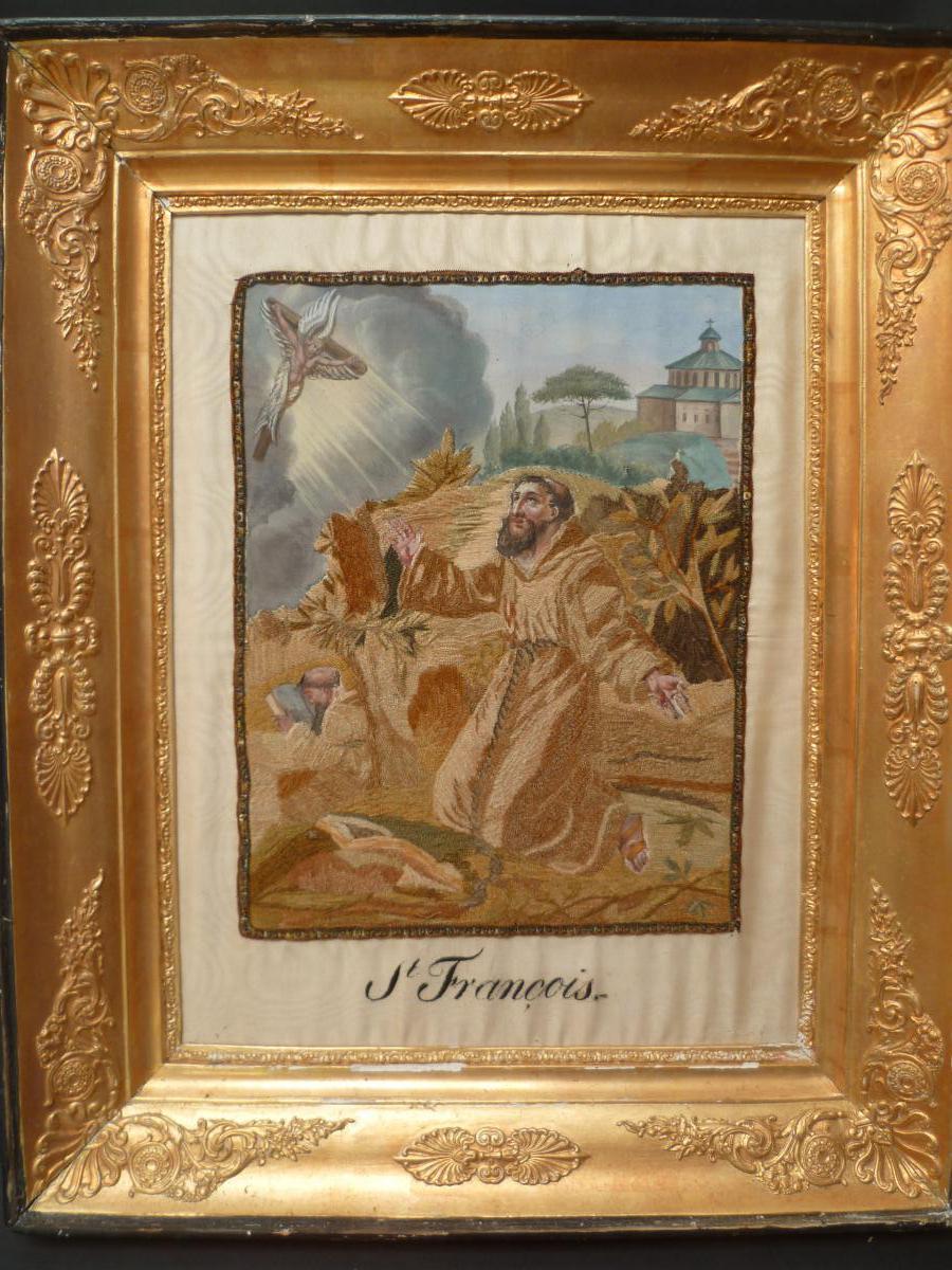 Saint Francois Embroidery On Silk XIXth Century Painted Beginning