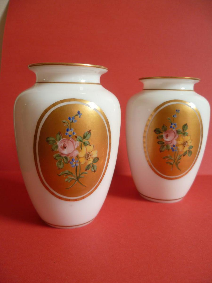 Pair Of Vases Opaline Baccarat Crystal Soap