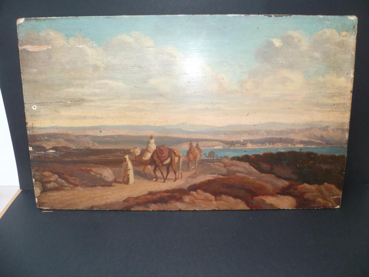 Orientalist Painting Caravan Seaside