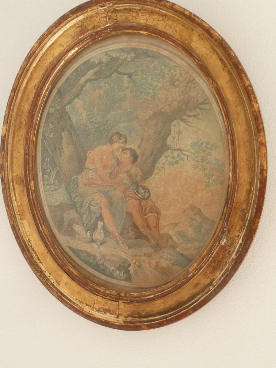 The Two Lovers And Engraving Frame Oval Nineteenth