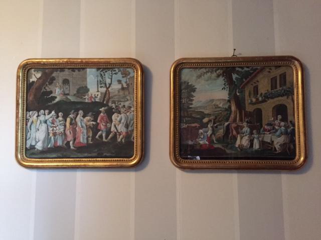 Paire De Gravures XVIIème Le retour des pélerins